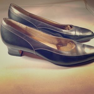 Salvatore Ferragamo bronze two tone leather pumps